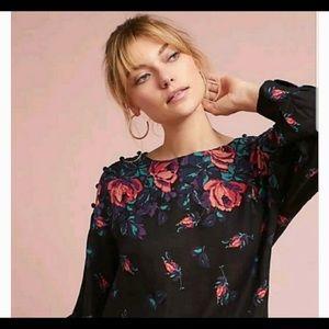 •Anthropologie•Maeve Button Shoulder Floral Blouse
